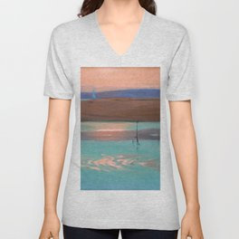 Blue Estuary maritime coastal beach sunset landscape painting by Julius Olsson Unisex V-Neck