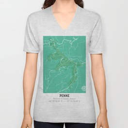 penne map italy // cartina di penne italia Unisex V-Neck