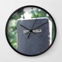 bible Wall Clocks featuring Holy Bible w/ bokeh by Hannah Chapman