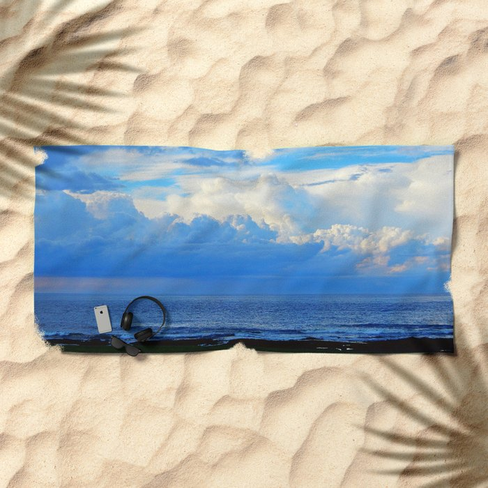 Clouds out at Sea Beach Towel