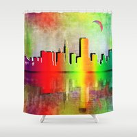 san francisco Shower Curtains featuring San Francisco  by mark ashkenazi