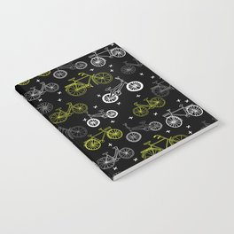 Bicycles cycle pattern black and white by andrea lauren Notebook