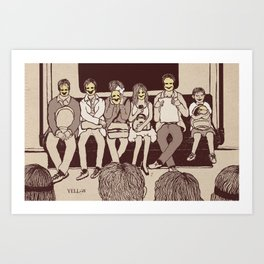 Masked-Smiley in public transport Art Print