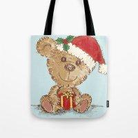 teddy bear Tote Bags featuring Teddy bear by Toru Sanogawa