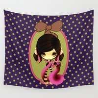 goth Wall Tapestries featuring Pink & Green Goth Dragoness by Hafapea