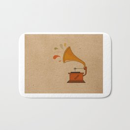 Vintage grammophone with music splashes on brown  Bath Mat
