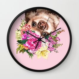 Flower Crown Baby Sloth in Pink Wall Clock