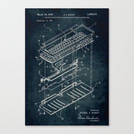 1967 - Chain of mounting a electrical keyboard patent art Canvas Print