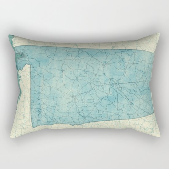 Alabama State Map Blue Vintage Rectangular Pillow