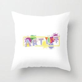 """Painting Shirt For Painters """"Artist"""" Tools T-shirt Design Portrait Landscape Paintbrush Scissor Throw Pillow"""