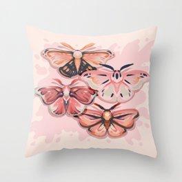 Pink Moths Throw Pillow