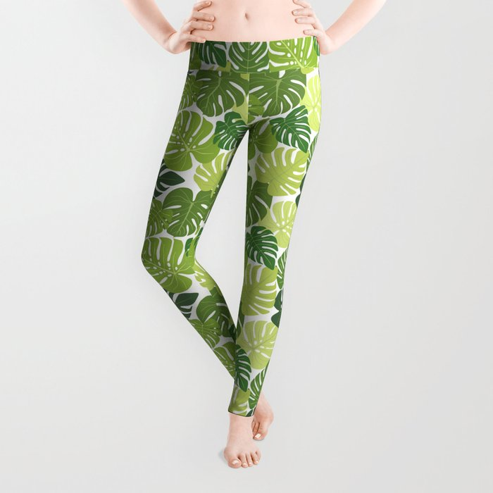 Monstera Leaves Pattern (white background) Leggings