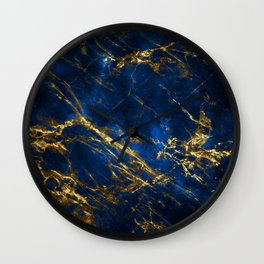 Exquisite Blue Marble With Luxury Gold Veins Wall Clock
