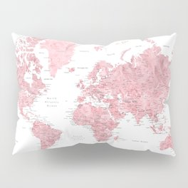 Light pink, muted pink and dusty pink watercolor world map with cities Pillow Sham