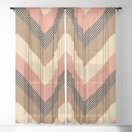 Willow in Peach Multi Sheer Curtain