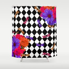 HARLEQUIN RED AND PURPLE DAISEY DRAGONFLY FUN PATTERN Shower Curtain