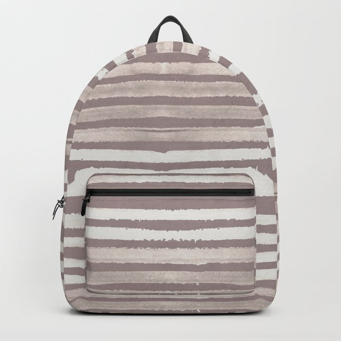 Simply Shibori Stripes Lunar Gray and Red Earth Backpack