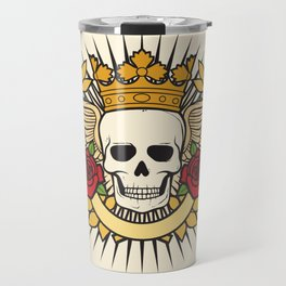 skull symbol tattoo design (crown, laurel wreath, wings, roses and banner) Travel Mug