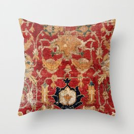 Indo Esfahan Central Persian Rug Fragment Print Throw Pillow