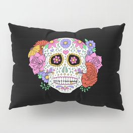Sugar Skull with Flowers on Black Pillow Sham