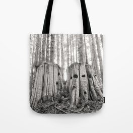 Nurse Stump Pacific Northwest Forest Cedar Trees Sepia Print Tote Bag