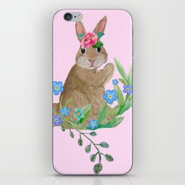 Easter rabbit with spring flowers on pink iPhone Skin