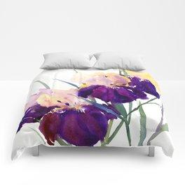 Deep Purple Flowers, Irises Comforters