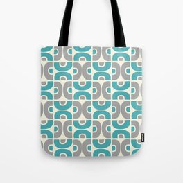 Funky Mid Century Modern Pattern 554 Gray and Turquoise Tote Bag