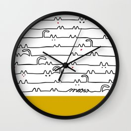 yellow meouw Wall Clock