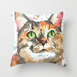 Calico Tabby Colorful Cat Art Throw Pillow
