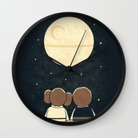 yetiland Wall Clocks featuring Moon Gazing by Teo Zirinis