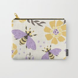 Honey Bees and Flowers - Yellow and Lavender Purple Carry-All Pouch