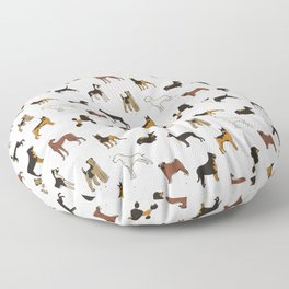 Dachshund Rottweiler Pug & Poodle Dog Pattern Floor Pillow