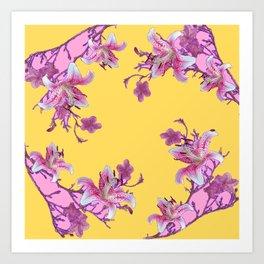 DECORATIVE YELLOW MODERN ART FLORAL Art Print