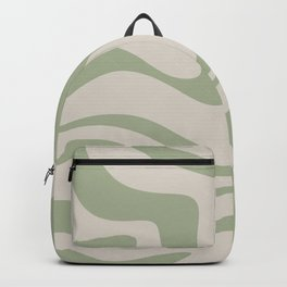 Liquid Swirl Abstract Pattern in Almond and Sage Green Backpack