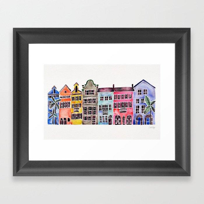 Rainbow Row – Charleston Gerahmter Kunstdruck