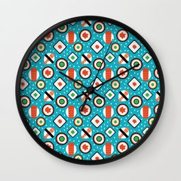 Delicious Pixel Sushi on turquoise background Wall Clock
