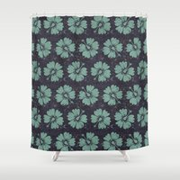 hibiscus Shower Curtains featuring hibiscus by Sara Morán