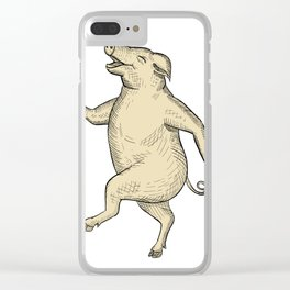 Jolly Pig Dancing Drawing Retro Color Clear iPhone Case