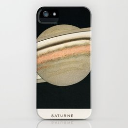 Lithograph Saturne printed in 1877, by F. Meheux, an antique representation of the planet saturn. iPhone Case