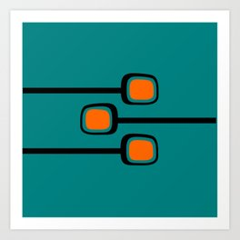 Mid Century Modern Branches - Orange on Teal Art Print