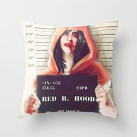 red hood Throw Pillows featuring Red Riding Hood by adroverart