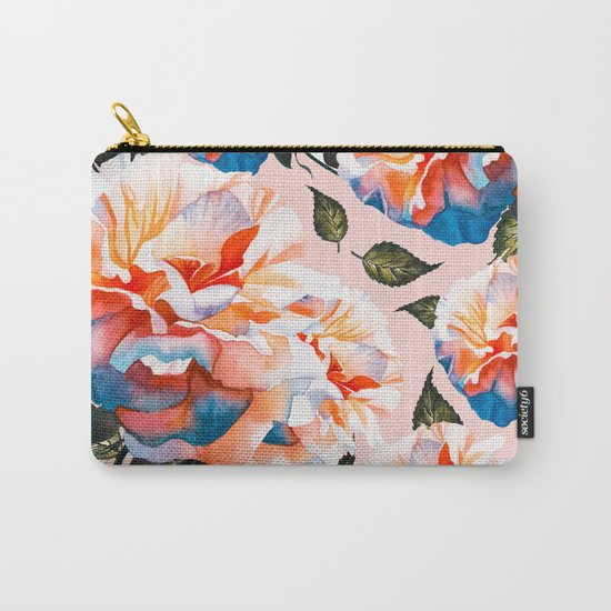Big flowers blue & orange Carry-All Pouch
