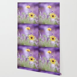 Purple Yellow Flower Photography, Purple Gold Green Nature Art Print, Daisy Floral Photo Wallpaper