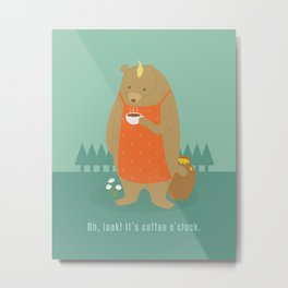 Bear Drinking Coffee Metal Print
