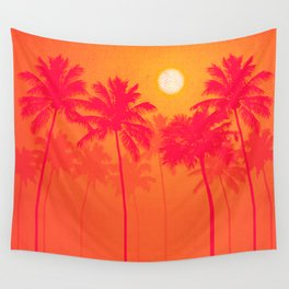 Palm Trees - Pink, Orange, Yellow, Halftone Wall Tapestry