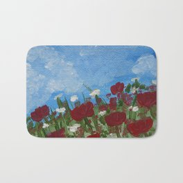 flowers meadow nature scenery painting Bath Mat