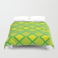 lime green Duvet Covers featuring Green Lime Square Pattern by FlowerPot