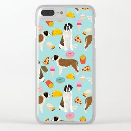 St. Bernard junk food fast food french fries dog breed pattern cute pet gifts Clear iPhone Case