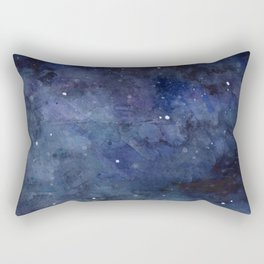 Galaxy Nebula Watercolor Night Sky Stars Outer Space Blue Texture Rectangular Pillow